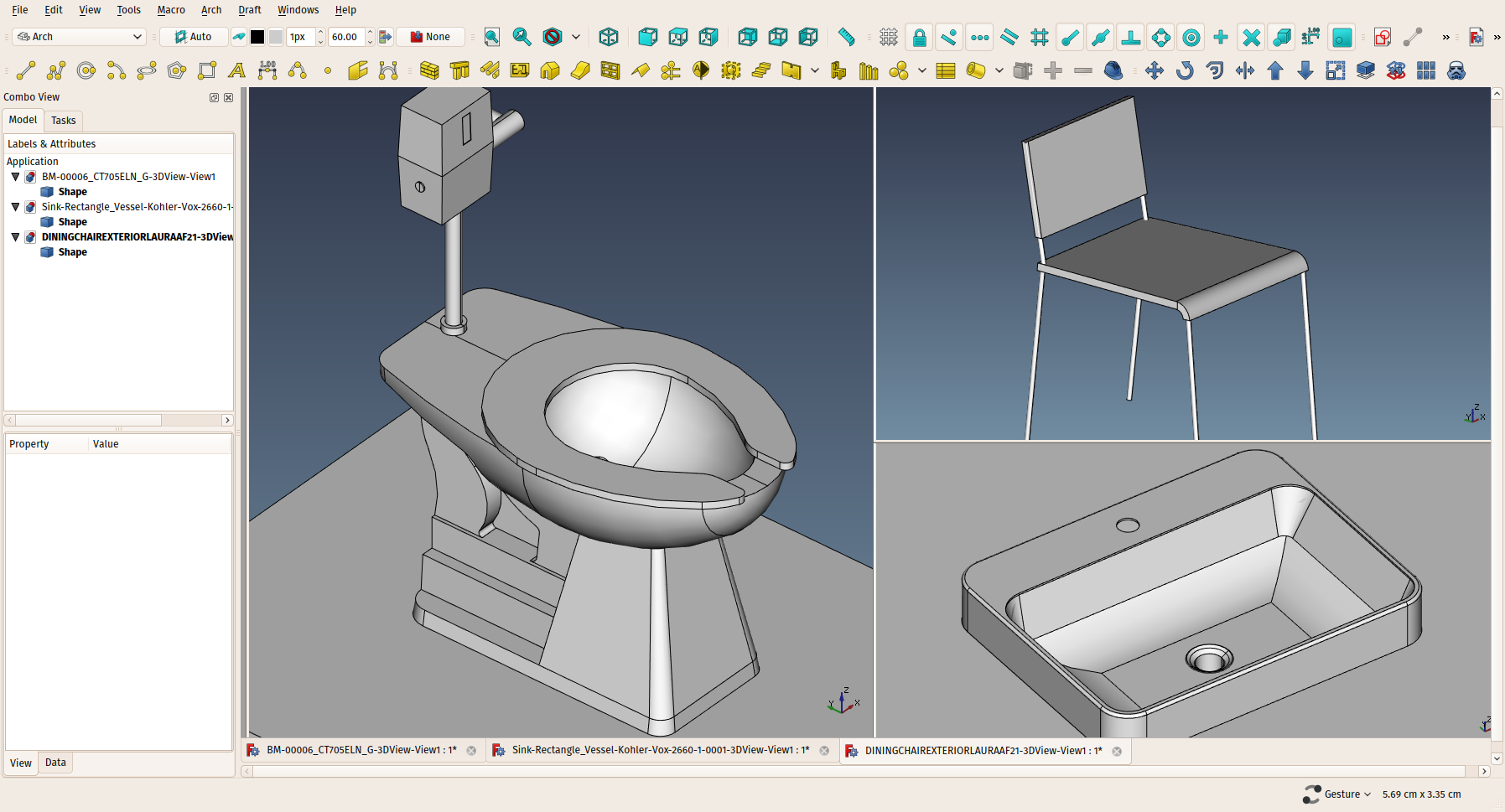 Screenshot showing the import of Revit families into FreeCAD through the ACIS SAT format.png